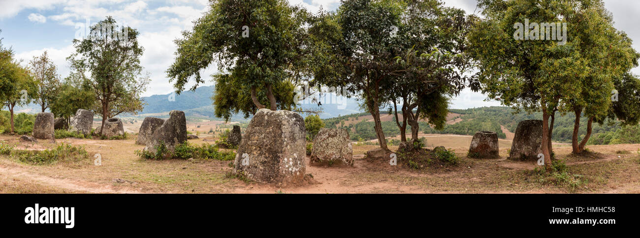 Panorama del sito 2, Piana di vasi, vicino a divieto Nakho Village, Xiang Khouang Provincia, Laos Foto Stock