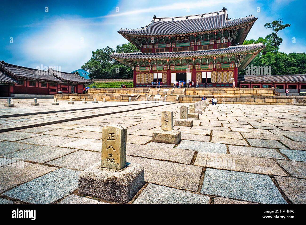 Trono edificio della Sala nel palazzo Gyeongbokgung, Seoul, Corea del Sud Immagini Stock