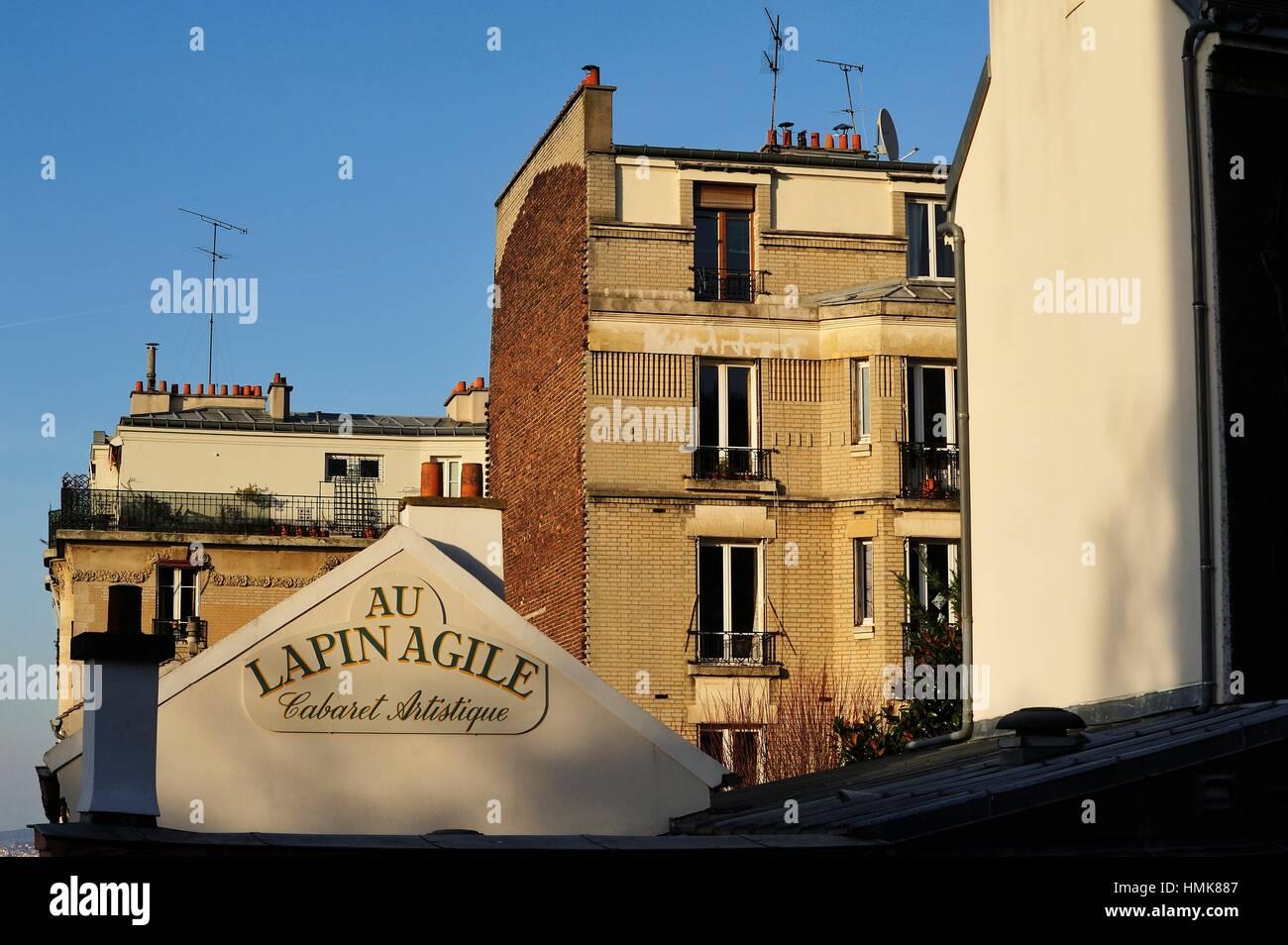 Au Lapin Agile Cabaret, quartiere di Montmartre, Paris, Francia. Immagini Stock