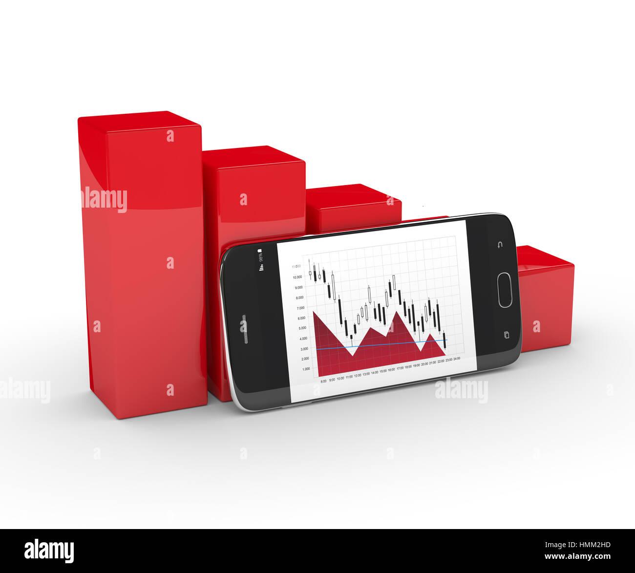 3D rendering di caduta grafico con telefono cellulare isolato su bianco Immagini Stock