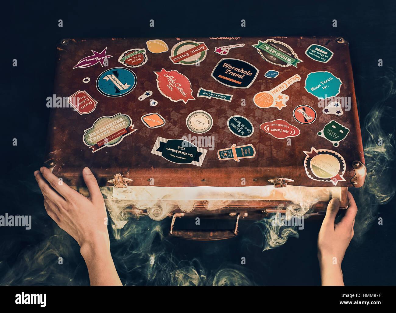 Imballaggio per i viaggi nello spazio Immagini Stock