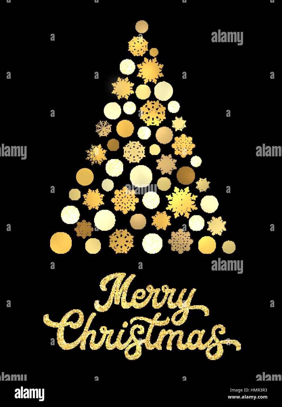 Albero Di Natale Nero E Oro.Stilizzata Albero Di Natale Isolato Su Sfondo Nero Con Oro Glitter