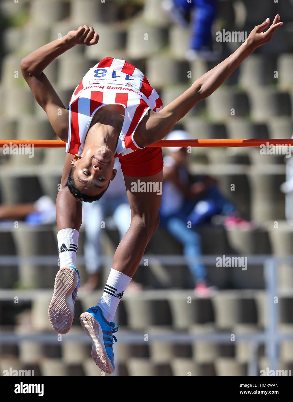Locali di atletica leggera incontro a Parow, Cape Town, Sud Africa Foto Stock
