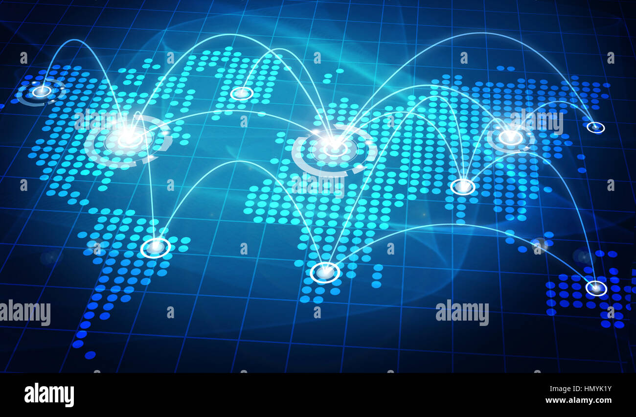 Cartina del mondo con le linee di collegamento Immagini Stock