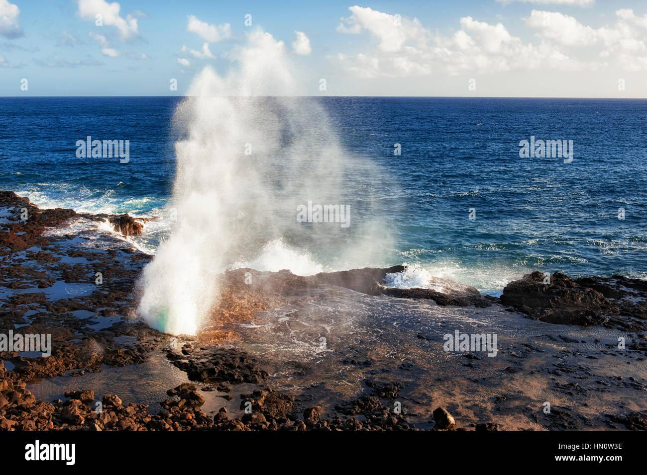 L'Oceano Pacifico spara fuori la lava blowhole noto come Spouting Horn lungo la riva sud alle Hawaii dell Isola Foto Stock
