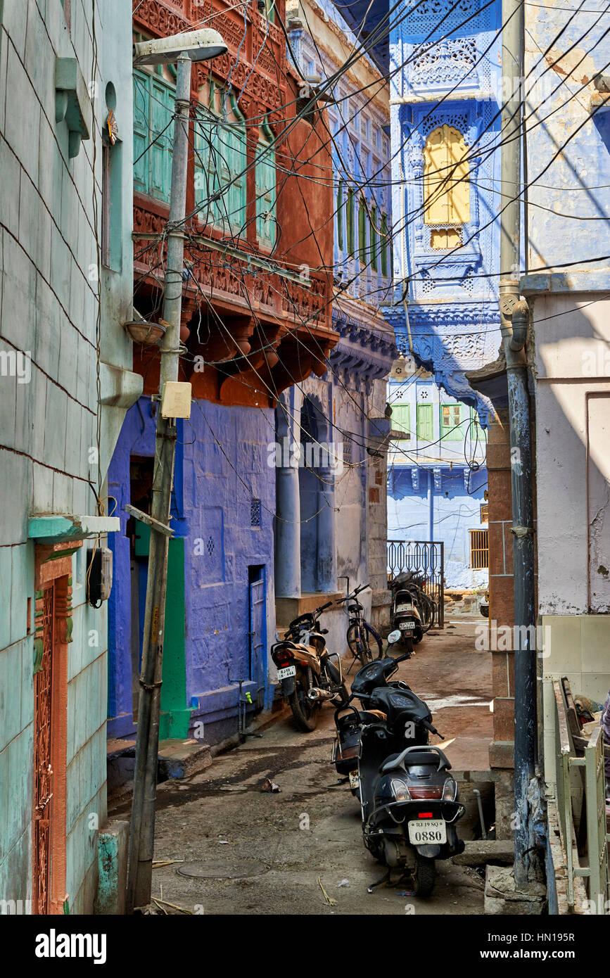Città blu Jodhpur, Rajasthan, India Immagini Stock