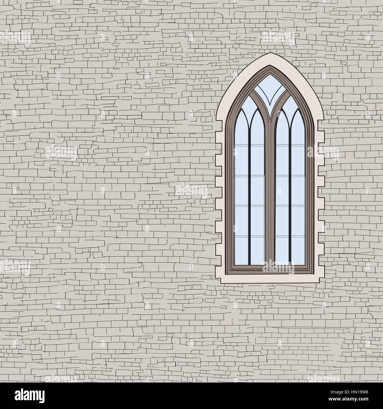 Antico Muro In Mattoni Con Uno Sfondo Finestra Gotica Squallido