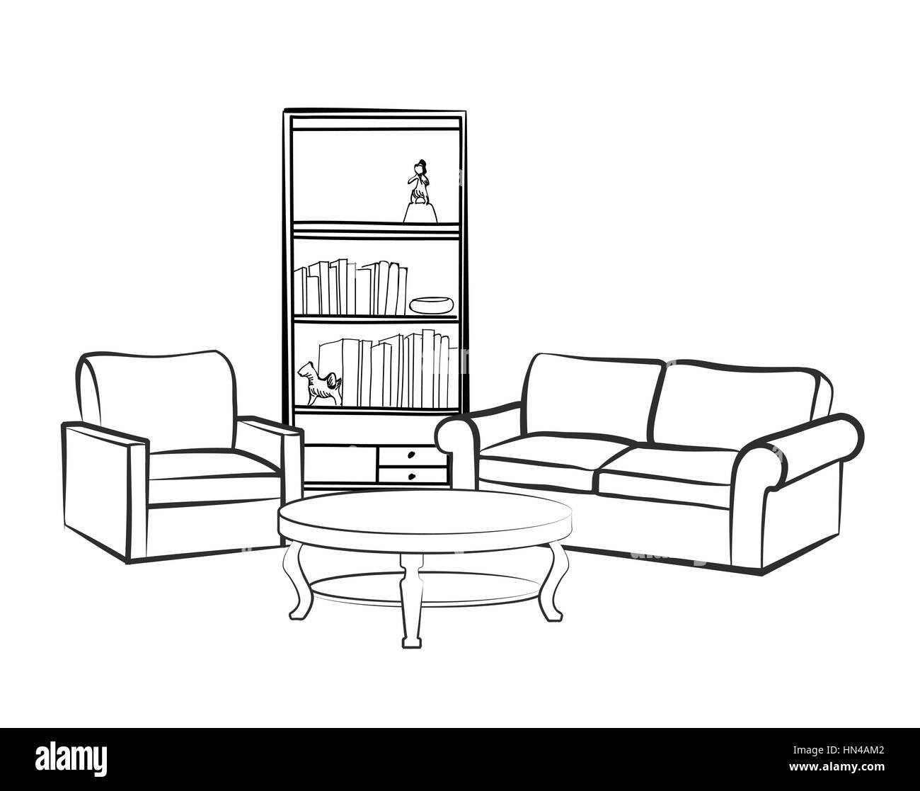 Home mobili per interni con divano poltrona tavolo for Disegnare interni