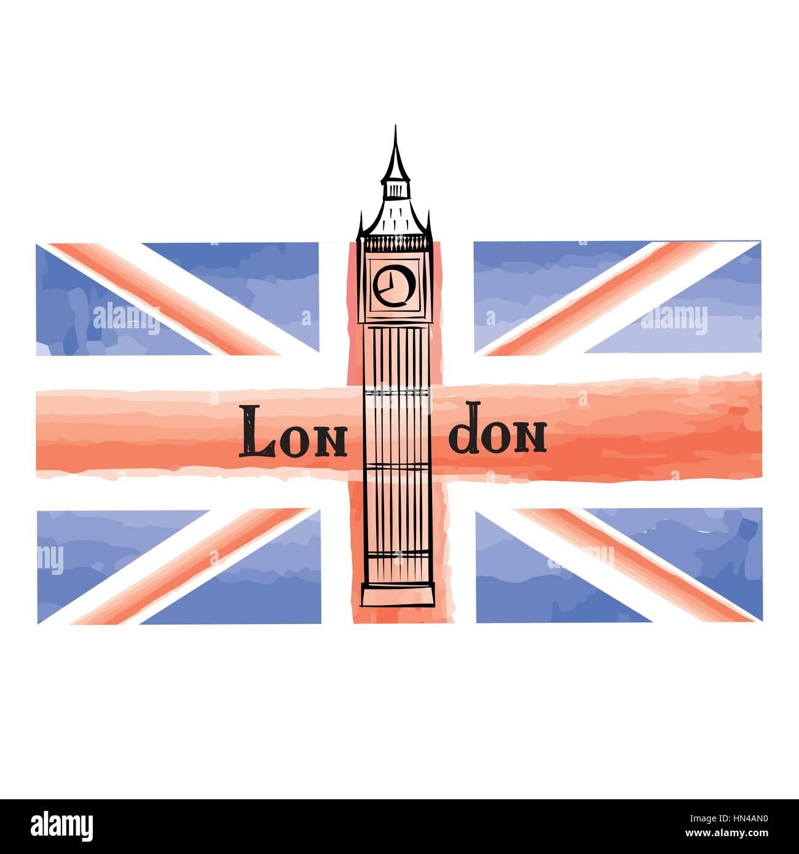 Grunge Bandiera Britannica Con Londra Famosa Abbazia Di Westminster