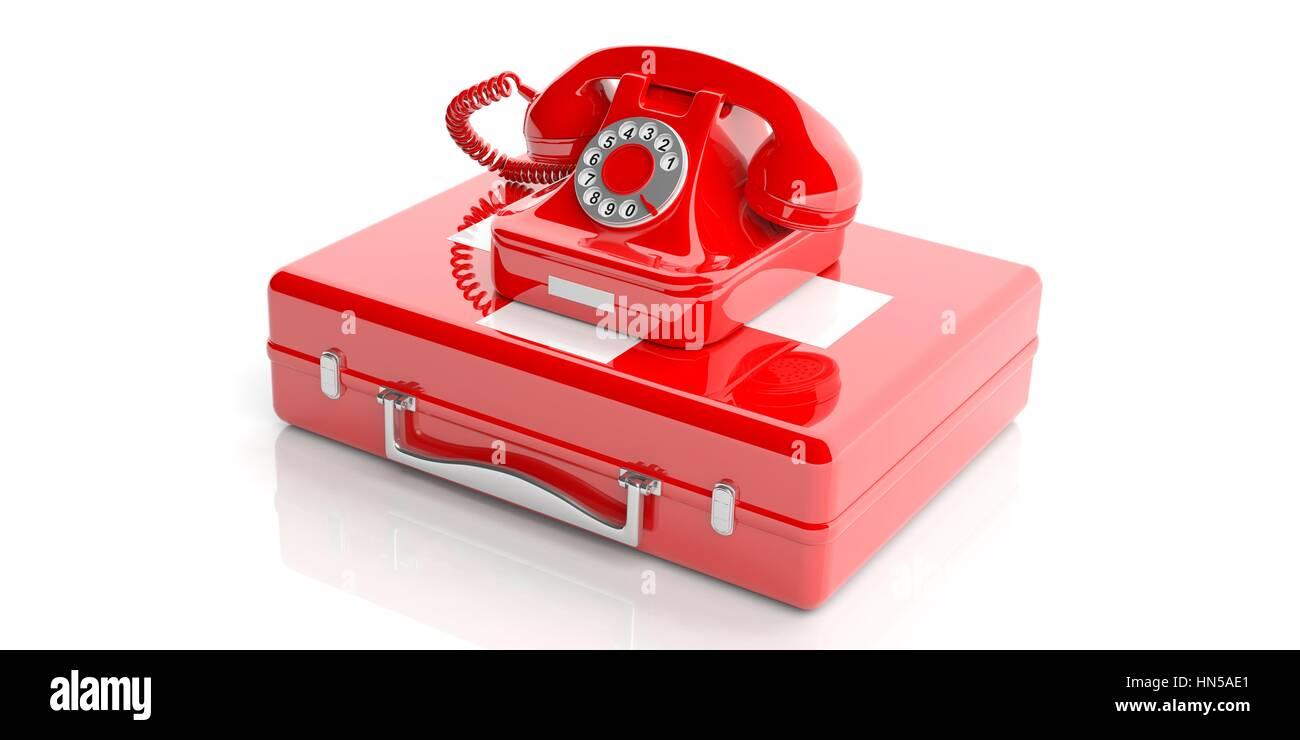 Rosso Antico Telefono Isolato Su Un Kit Di Primo Soccorso Su Sfondo