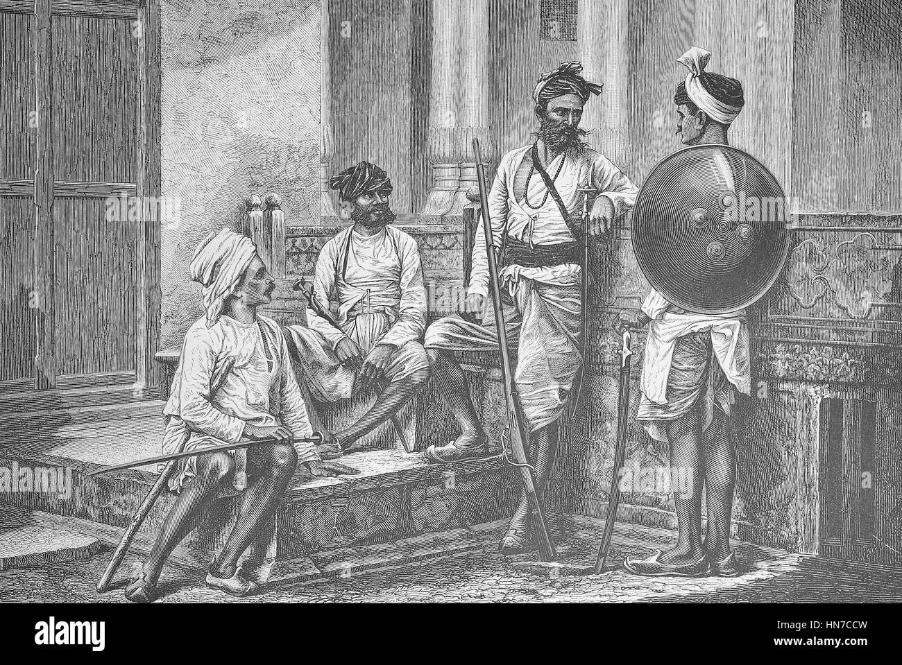 Guerrieri dal Rajput, un membro del clan di patrilineal del subcontinente indiano, India. Krieger von der Kaste Immagini Stock
