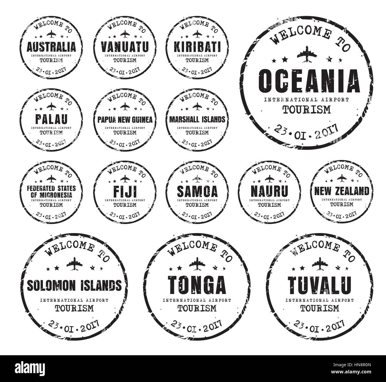 Set di vecchi francobolli usurato passaporto con il nome di anime Oceania. Segno di modelli per il viaggio e l'aeroporto. Immagini Stock