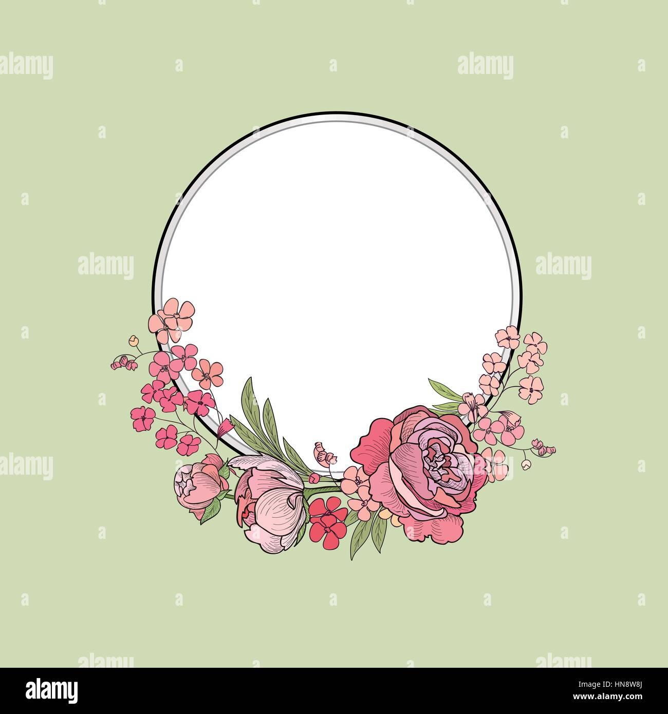 Flower frame. bordo floreale. estate fiorire sfondo. Immagini Stock