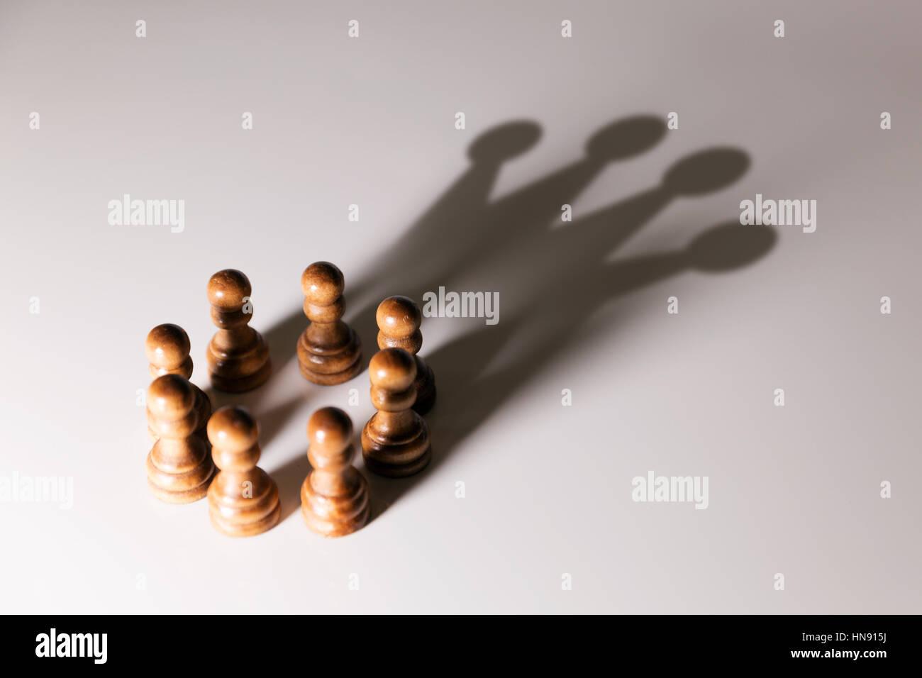 La leadership aziendale, il lavoro di squadra di potenza e concetto di fiducia Immagini Stock
