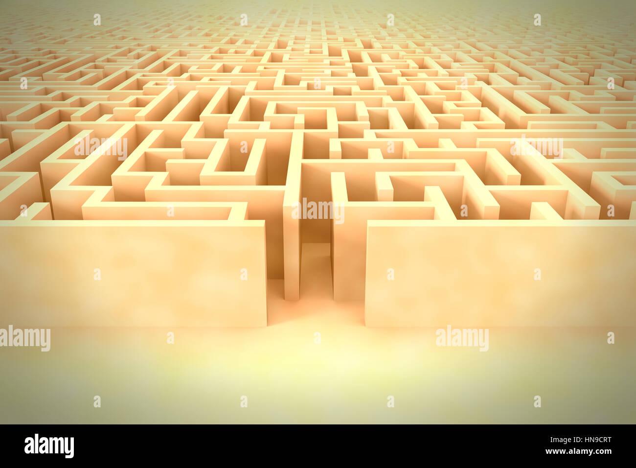 Vintage enorme struttura a labirinto con ingresso Immagini Stock