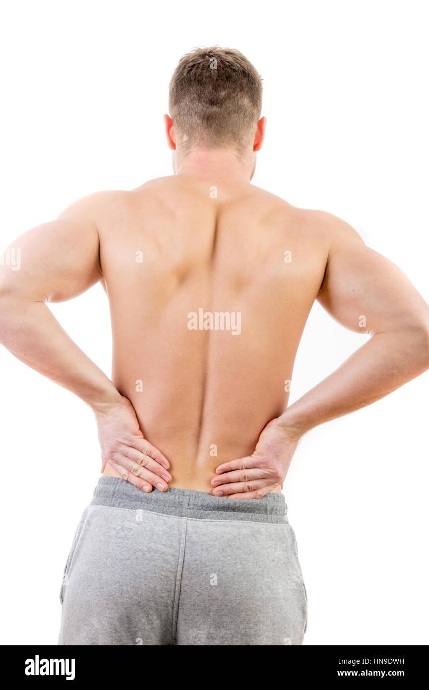 Concetto di immagine di un uomo con dolori alla parte inferiore della schiena Immagini Stock
