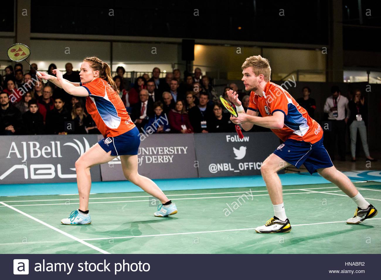 Nazionale AJBell Badminton League - Team Derby V Università di Nottingham - Centro:MK, Milton Keynes, Regno Immagini Stock