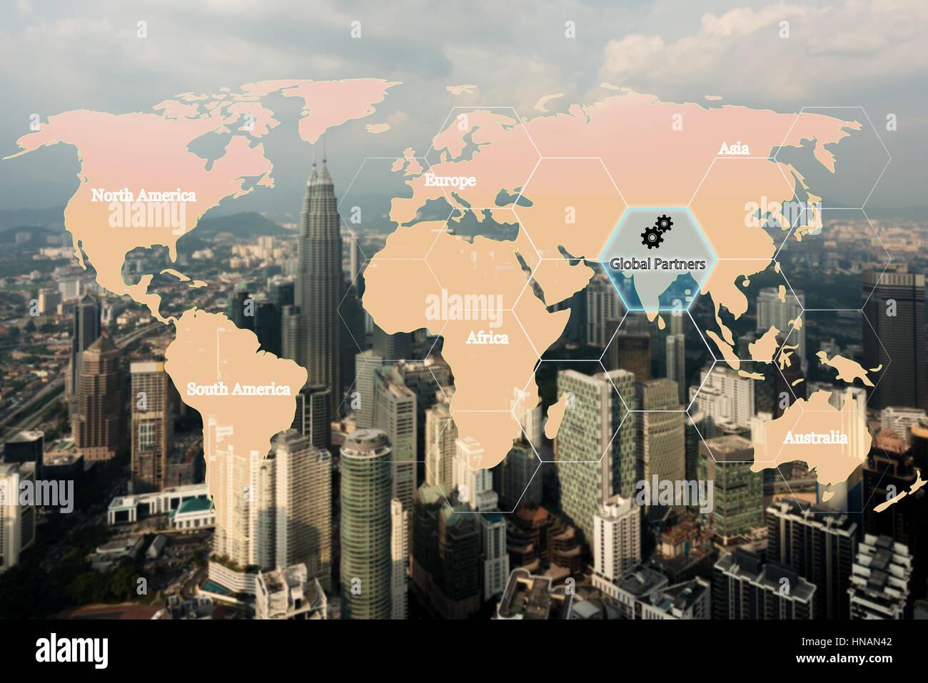 Mappa logistica globale di connessione di partenariato per la logistica Import Export sfondo, rete logistica globale Immagini Stock