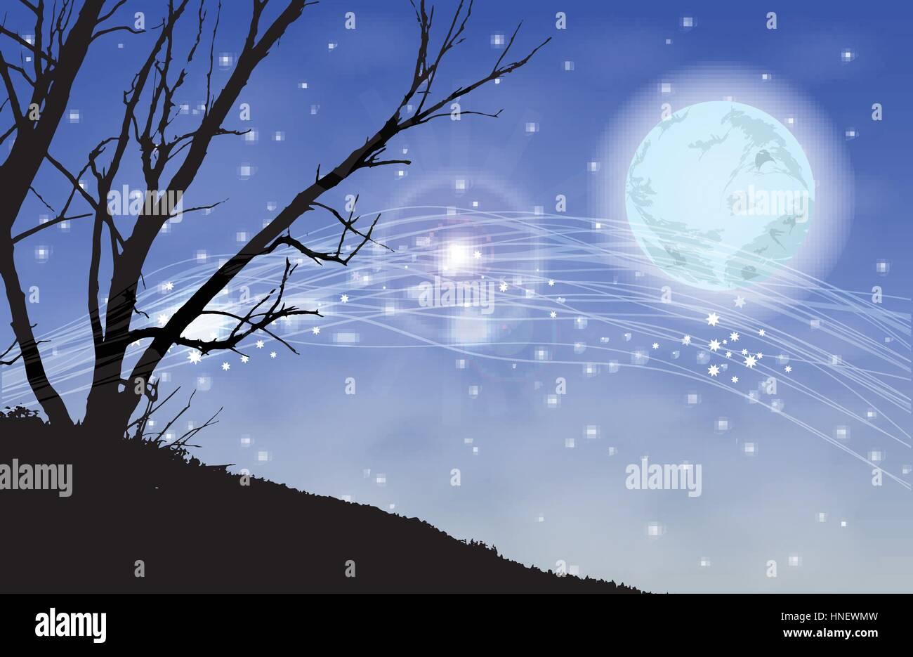 Alberi Silhouette Magica Notte Illustrazione Utilizzare Lo Sfondo