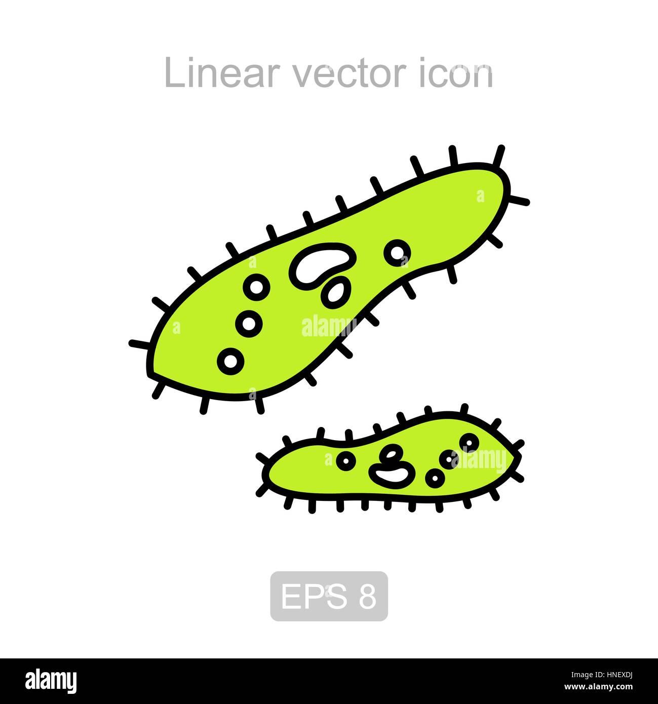 Icona del ciliato pantofola in uno stile lineare Immagini Stock