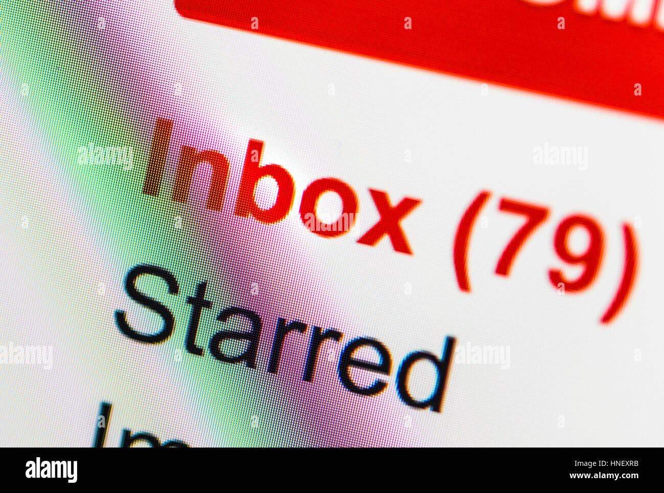 Messaggi non letti, account e-mail, email, internet, immagine simbolica, schermata Immagini Stock