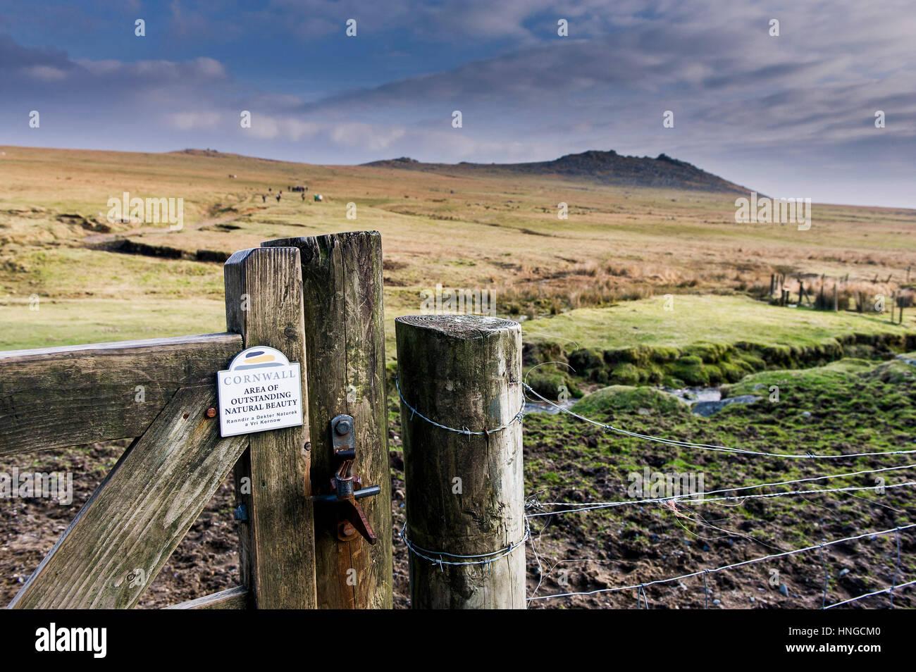 Un cancello a Tor ruvida, in una zona di straordinaria bellezza nazionale. La Cornovaglia. Immagini Stock