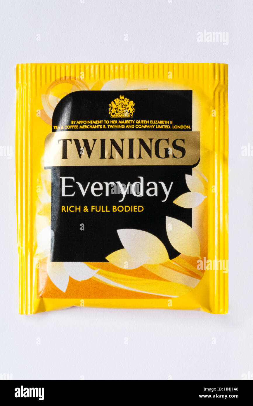 Bustina di Twinings ogni giorno ricco e corposo bustine di the sacchetto da tè isolati su sfondo bianco Immagini Stock