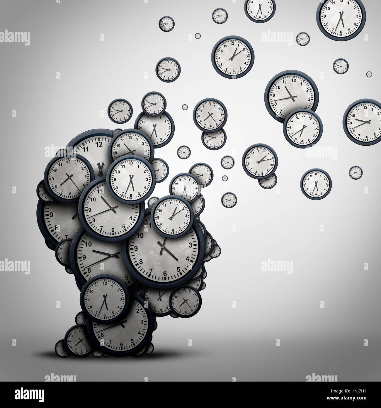 Pianificazione del tempo la concezione di business o spreco di minuti come un gruppo di orologi o orologi a forma Immagini Stock