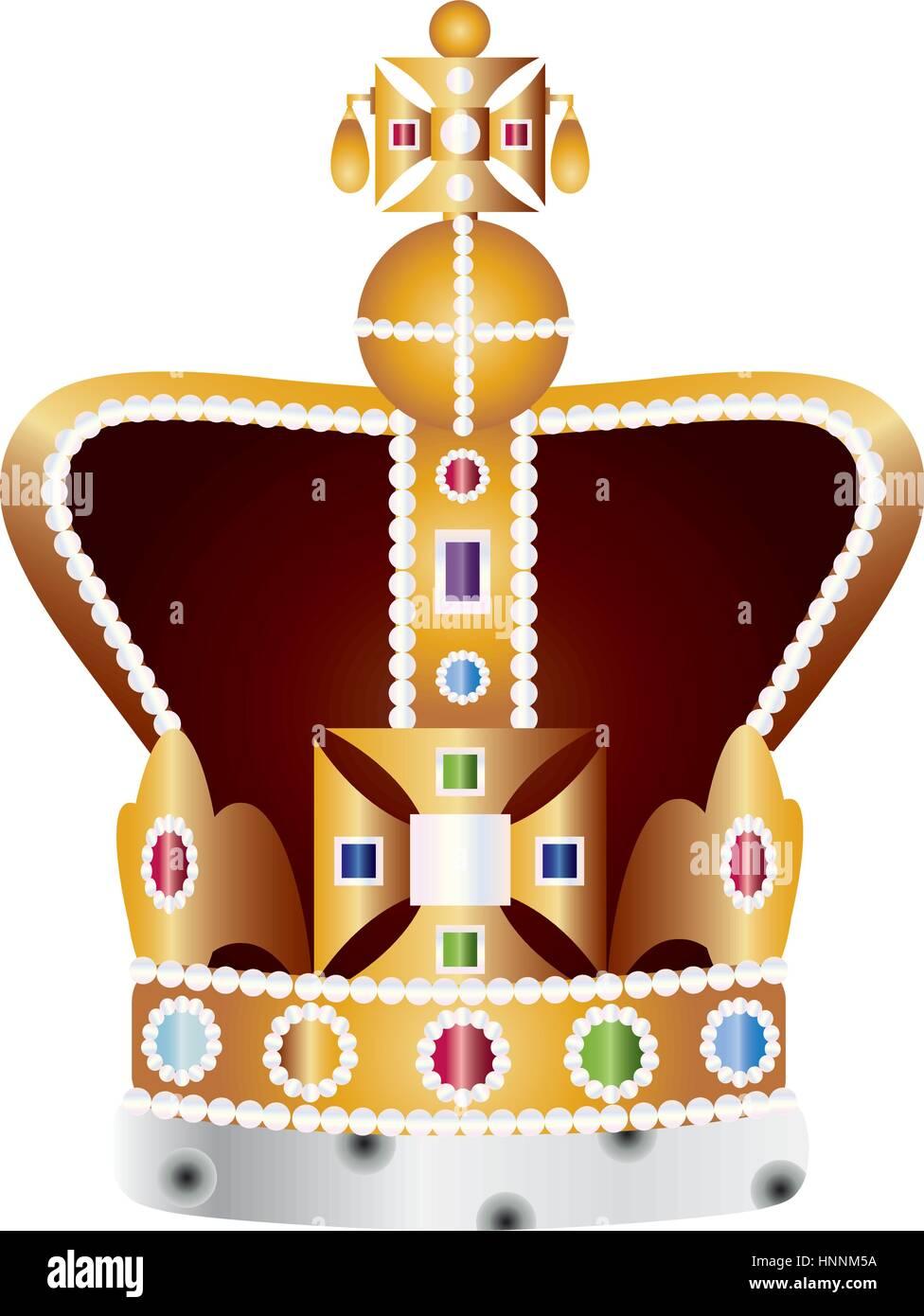 Inglese King e Queen incoronazione i Gioielli della Corona illustrazione  isolati su sfondo bianco