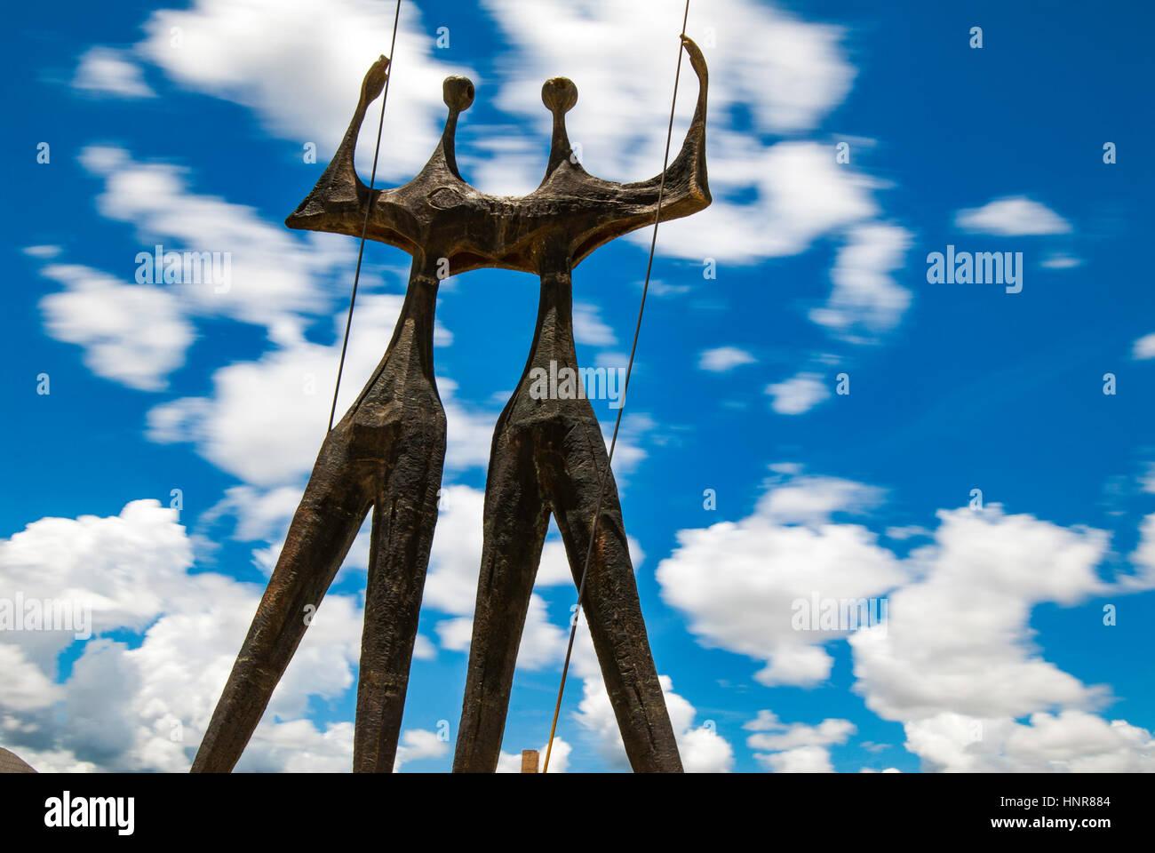 """""""I guerrieri della notte"""" scultura, Brasilia, Brasile Immagini Stock"""