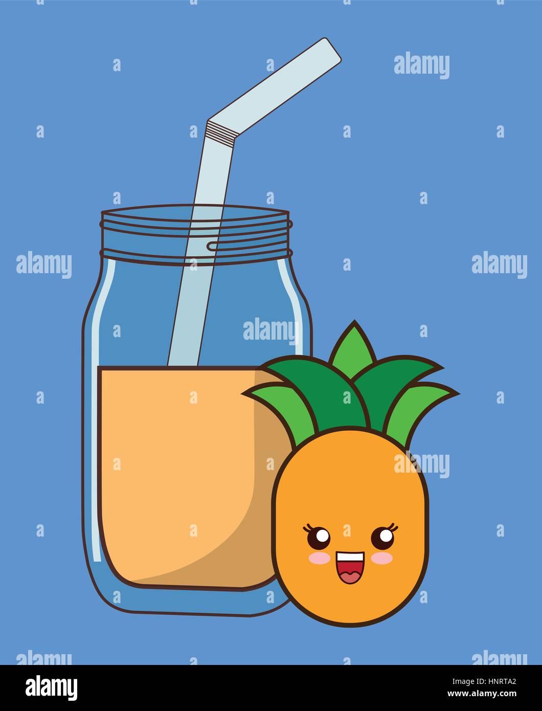 Ananas Succo Di Frutta Kawaii Cibo Immagine Dell Icona Illustrazione
