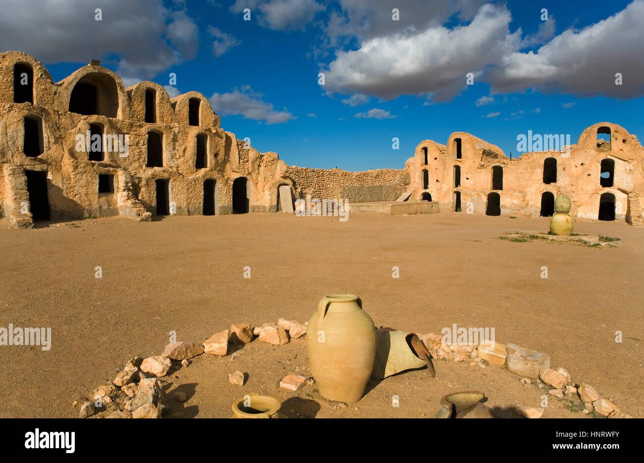 Tunisia.ksar métameur. ghorfas Immagini Stock