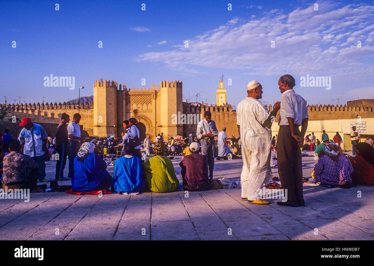 Pacha el Baghdadi square, Medina, sito Patrimonio Mondiale dell'UNESCO, Fez, in Marocco, Africa. Immagini Stock