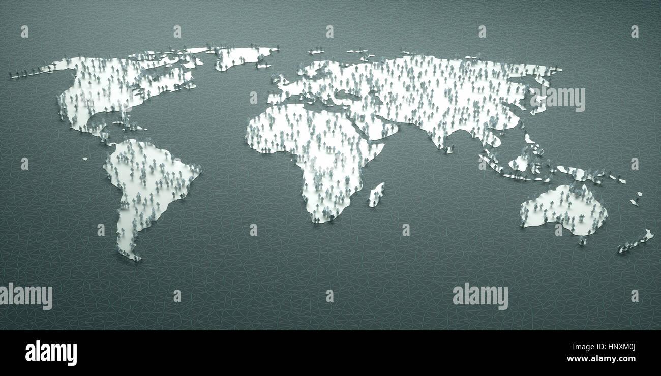 La carta di persone in tutto il mondo, il concetto di popolazione, demografia, invecchiamento, migrazioni, la nascita, Immagini Stock