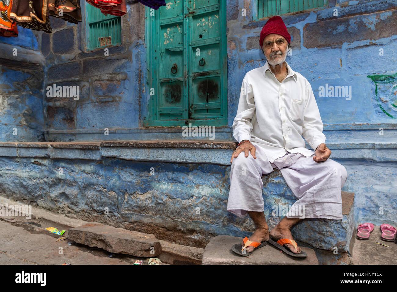 Il vecchio uomo di Rajasthani, Jodhpur, Rajasthan, India Immagini Stock
