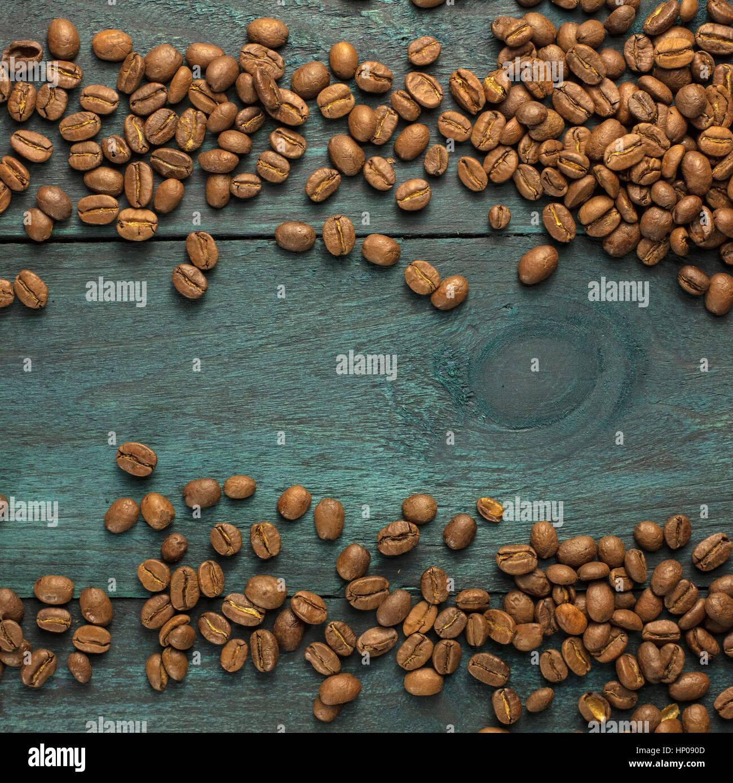 Chicchi di caffè formando una cornice con copyspace Immagini Stock