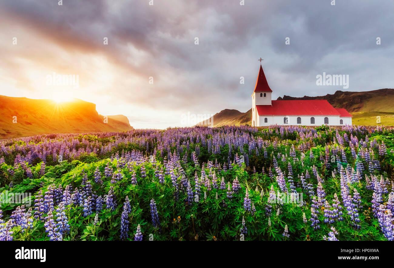 Chiesa luterana di Vik. L'Islanda. Immagini Stock