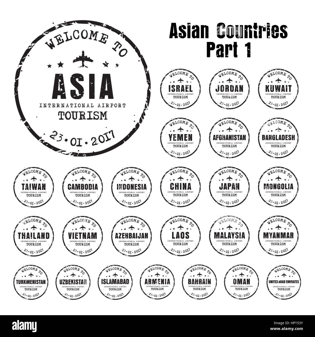 Set di vecchi francobolli usurato passaporto con il nome dei paesi asiatici. Segno di modelli per il viaggio e l'aeroporto. Immagini Stock