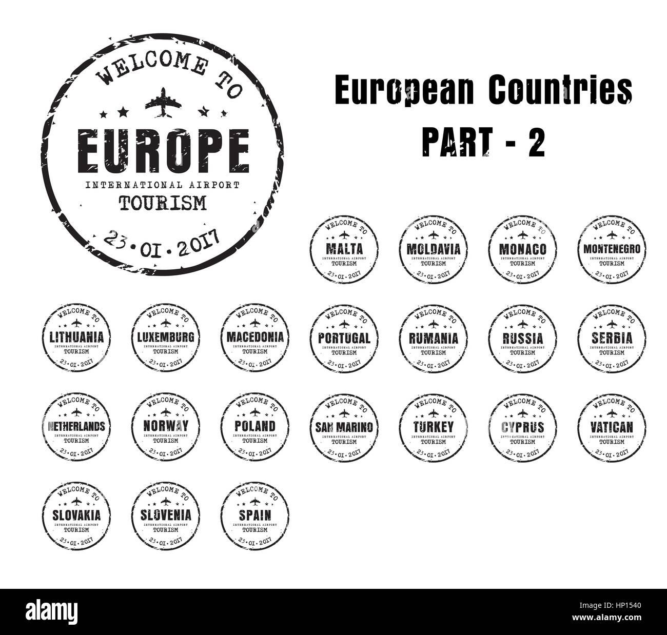 Set di vecchi francobolli usurato passaporto con il nome dei paesi europei. Segno di modelli per il viaggio e l'aeroporto. Immagini Stock