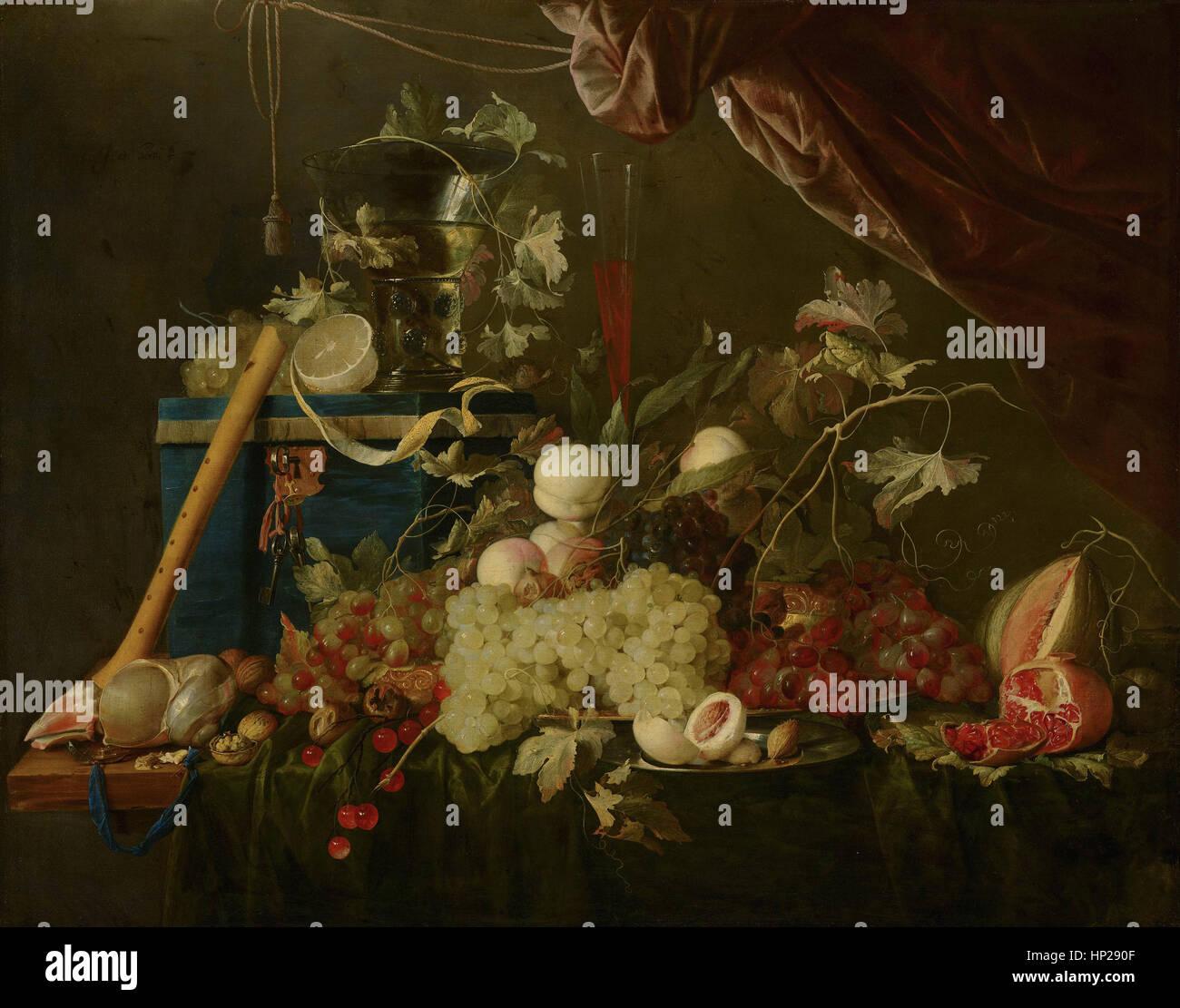 Jan Davidsz de Heem sontuoso frutto ancora in vita con scatola di gioielli - museo Mauritshuis L Aia Foto Stock
