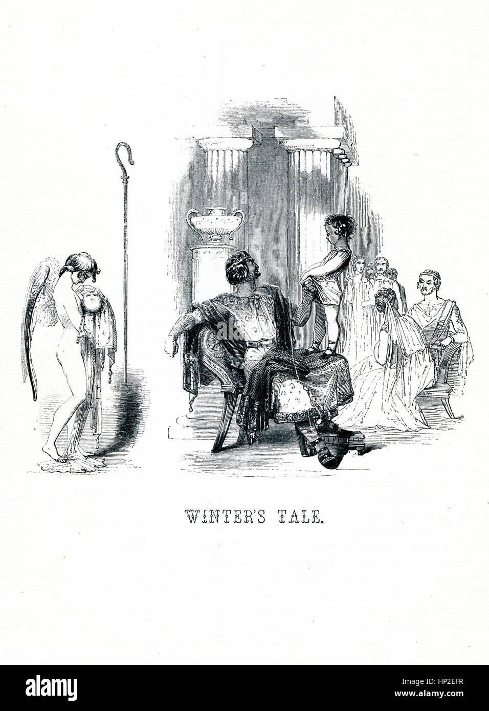 Gli inverni racconto, Vittoriano prenota frontespizio per il gioco da William Shakespeare dal 1849 libro illustrato Immagini Stock