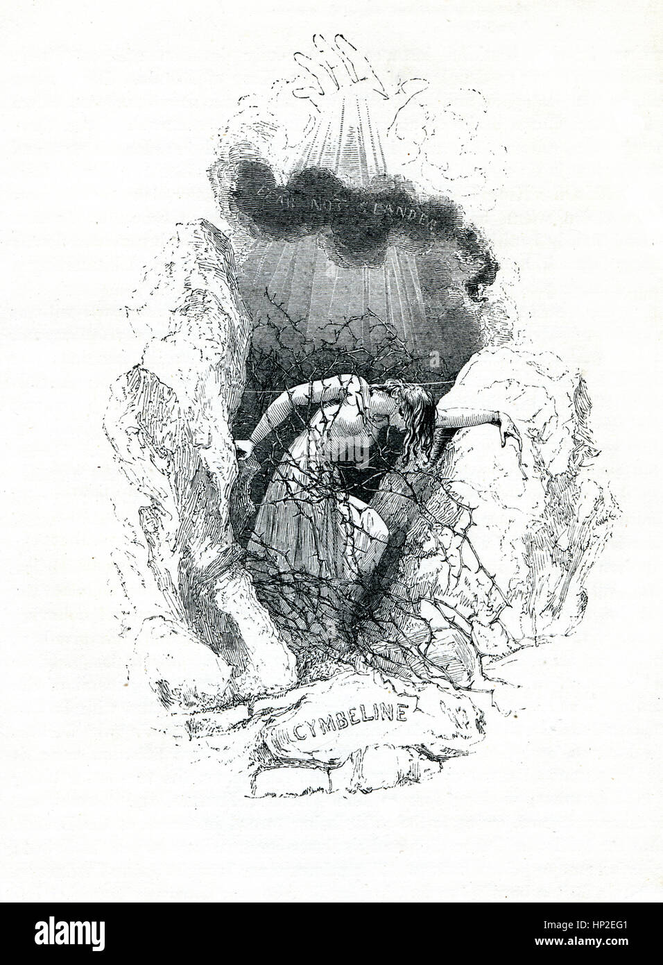 Cymbeline, Vittoriano prenota frontespizio per il gioco da William Shakespeare dal 1849 libro illustrato eroine Immagini Stock