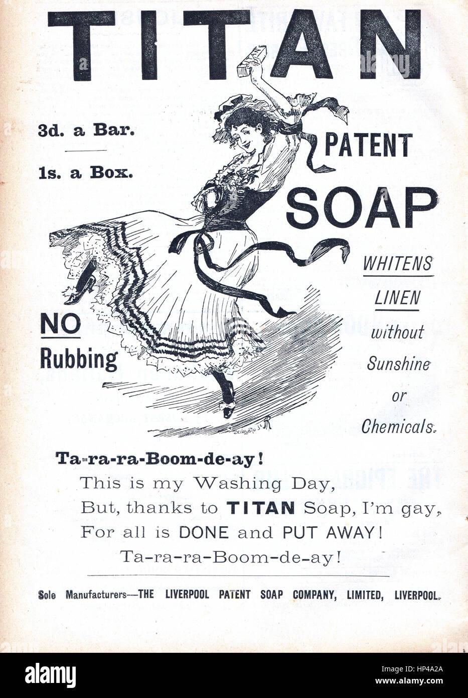 Sapone vittoriano advert Titan sapone 1892 Immagini Stock