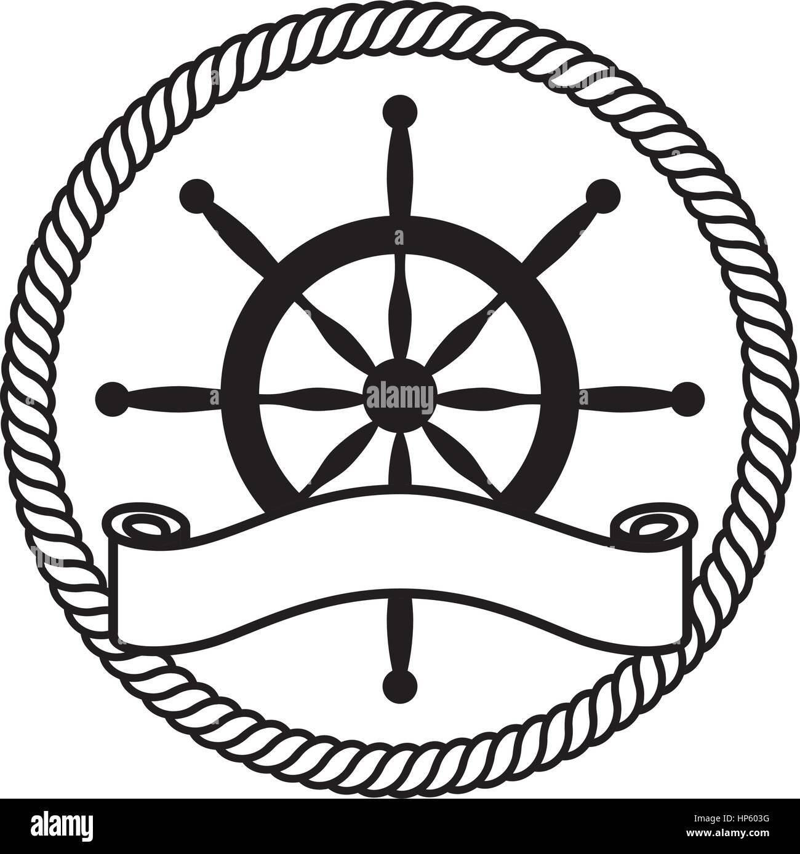 Timon barca icona isolato illustrazione vettoriale design Immagini Stock