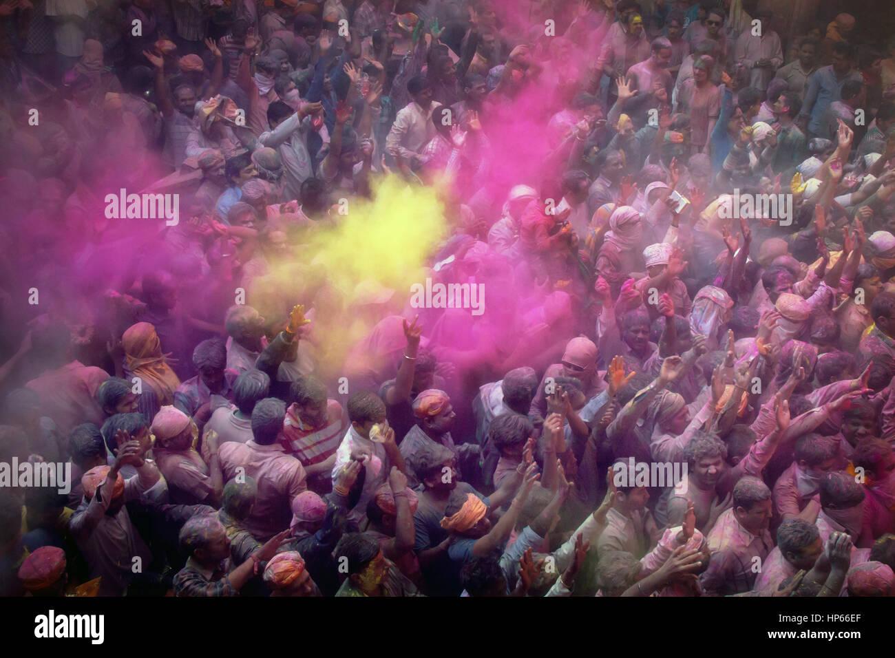 Holi celebrazioni in Vrindavan, India Immagini Stock