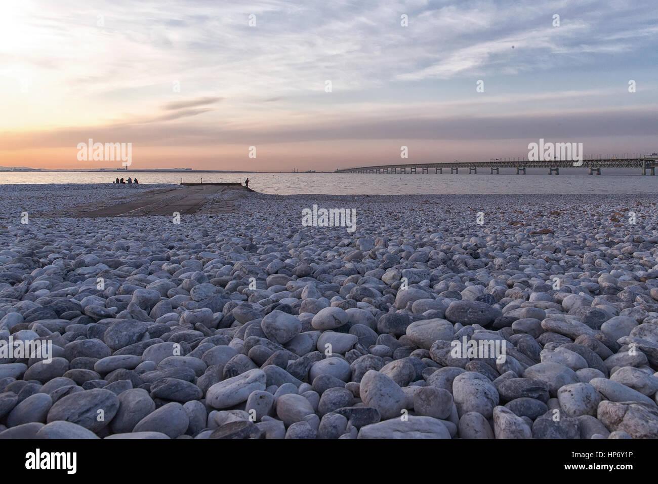 Tramonto sulla spiaggia di Osaka in Giappone Immagini Stock