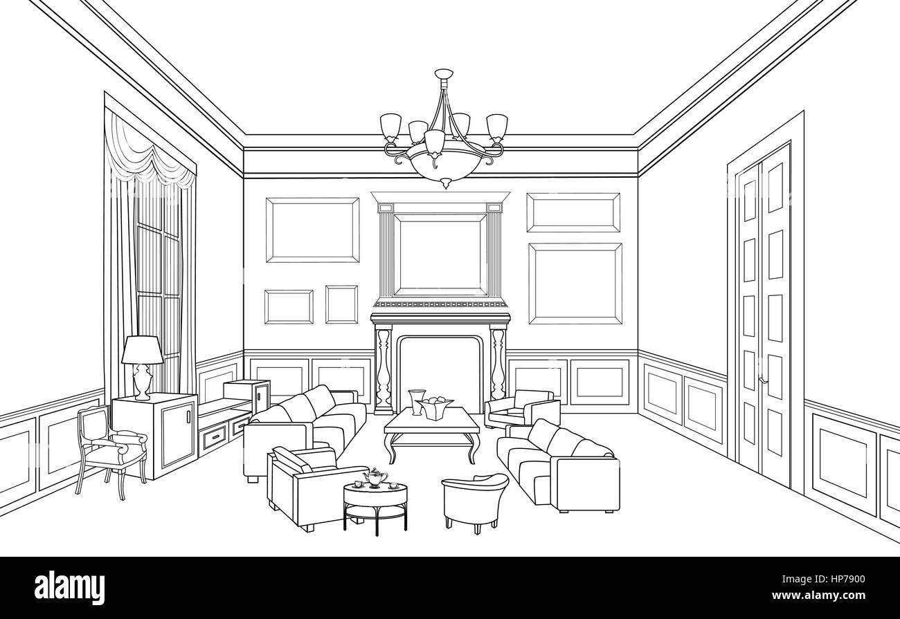 Home mobili per interni con divano e poltrona tavolo for Disegnare interni