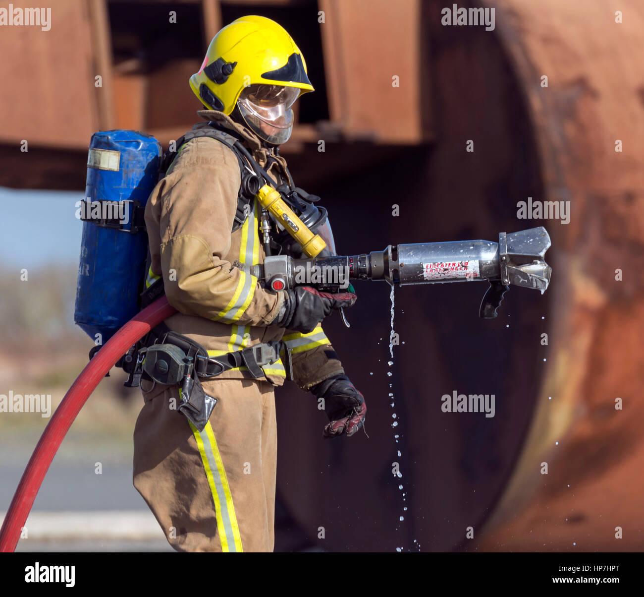 Royal Navy Crash/Fire esercizio Predannack Airfield Immagini Stock