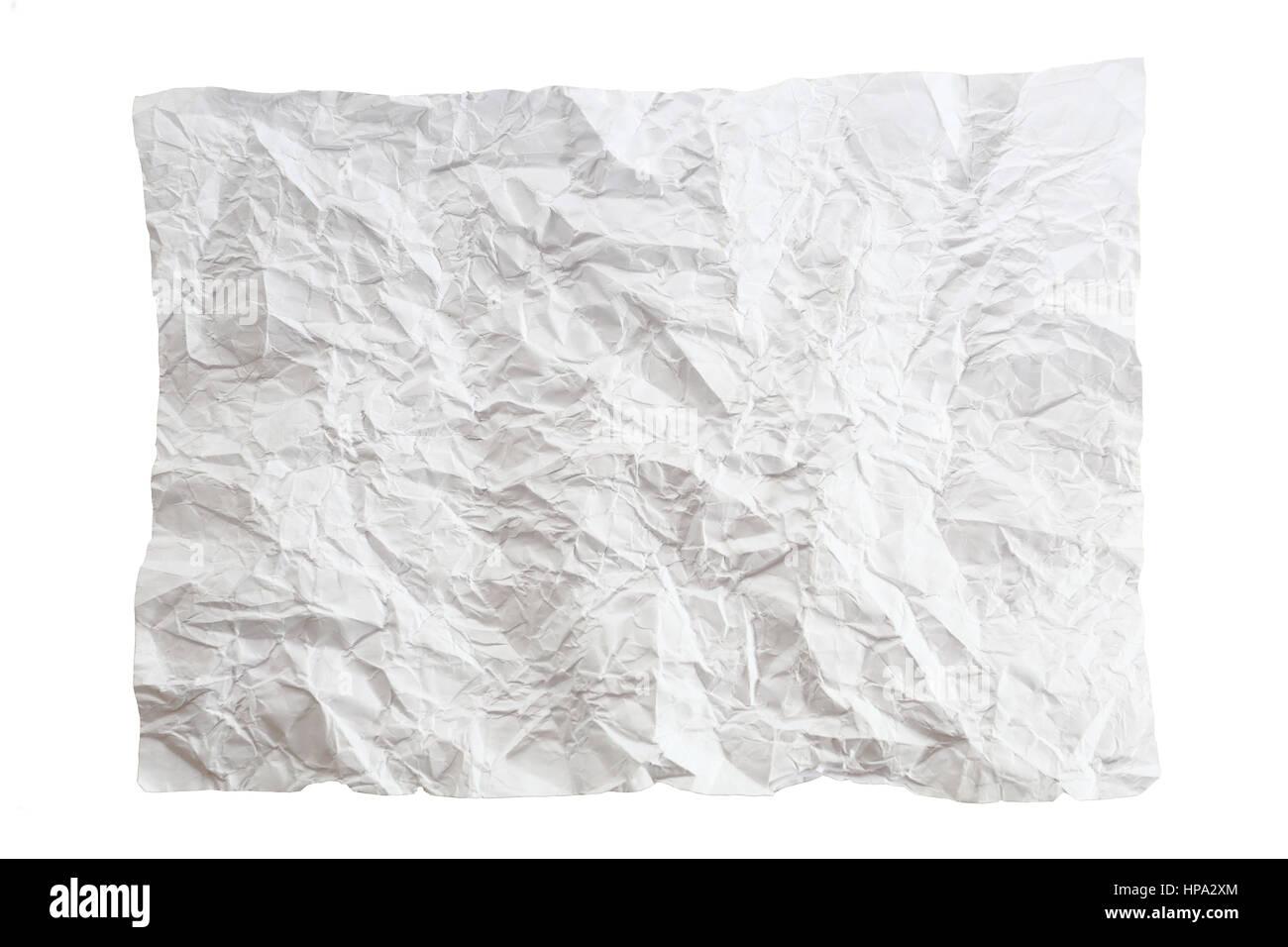 Crumpled Pezzo Di Carta Isolato Su Sfondo Bianco Uno Bianco Carta