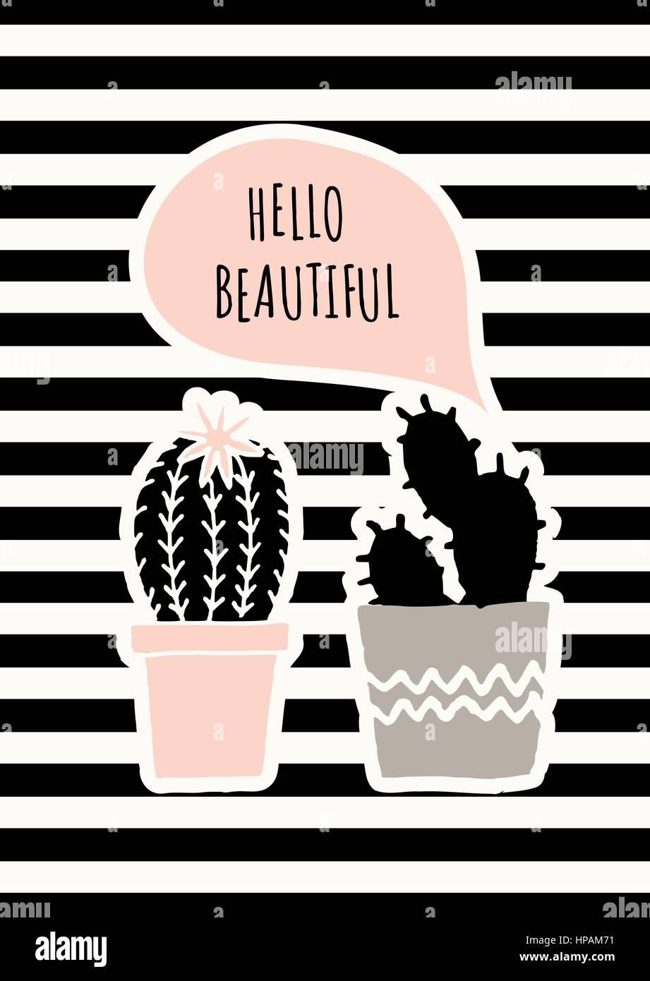 Disegnata A Mano I Cactus In Nero Grigio E Rosa Pastello Su Sfondo